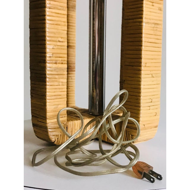 1970s Vintage Rattan Wrapped Table Lamp For Sale - Image 12 of 13
