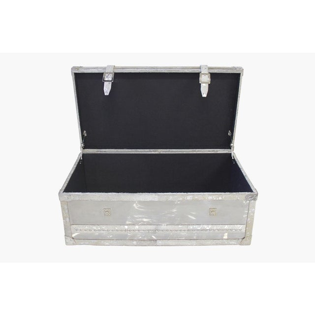 Forest Collection Steel and Cowhide Silver Trunk - Image 5 of 5