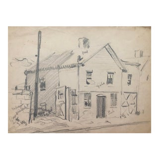 1950s Henry Gasser Cityscape Drawing For Sale