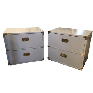 Vintage Lane Furniture Campaign Campaigner Powder Blue Lacquered Brass Nightstands Chests -A Pair For Sale