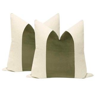 """22"""" Moss Green Velvet Panel & Linen Pillows - a Pair For Sale"""