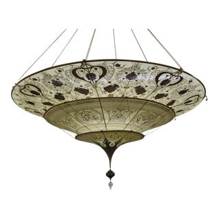 Mariano Fortuny Silk Hand Painted Chandelier, Made in Italy For Sale