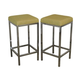 Quality Modern Pair Chrome Bar Stools For Sale
