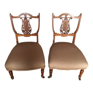 Antique Victorian Nursing Chairs- a Pair For Sale