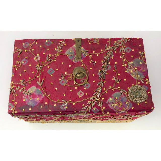 Indian Vintage Red Embroidered Indian Fabric Box For Sale - Image 3 of 5