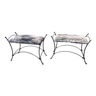 Vintage Hand Wrought Iron Faux Fur Bench– a Pair For Sale