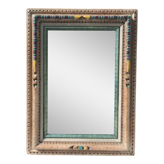 Folk Art Mirror With Snakeskin Details For Sale