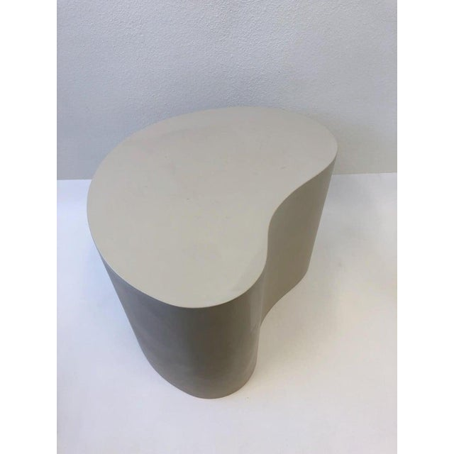 1980s Leather Kidney Shape Side Table by Karl Springer For Sale - Image 5 of 10