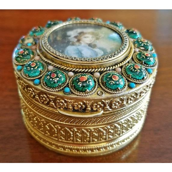 Early 19c French Gold Box With Enamel and Miniature Portrait For Sale - Image 10 of 12