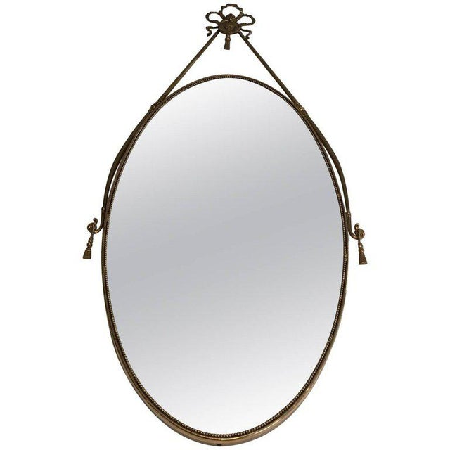 Neoclassical Brass Oval Mirror With a Ribbon Decoration - Image 11 of 11
