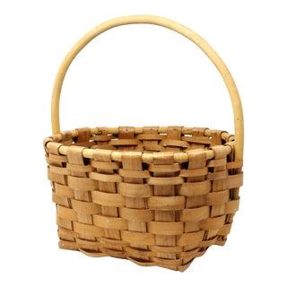 Vintage Handmade Woven Wood Basket For Sale