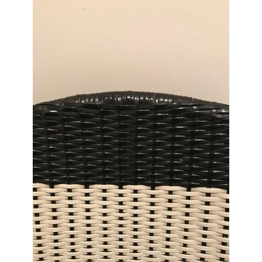 Metal Vintage Mid-Century Atomic B/W Vinyl Basket Chair For Sale - Image 7 of 13