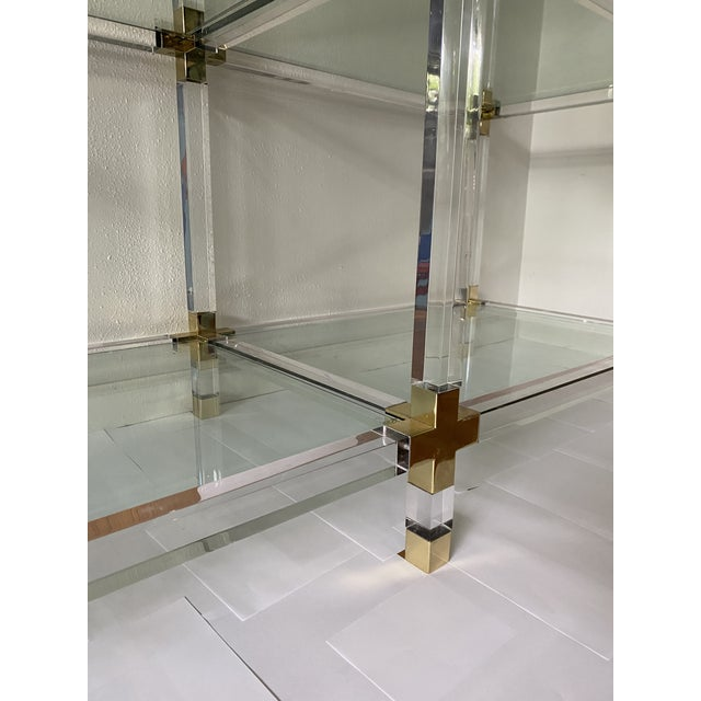 Charles Hollis Jones Vintage Large Lucite Brass and Glass Bookcase Etagere For Sale - Image 4 of 9