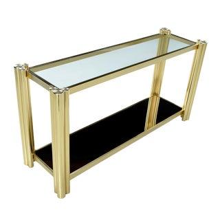 Vintage 1970s Hollywood Regency Gold Brass Tubular Aluminum Console Sofa Table For Sale