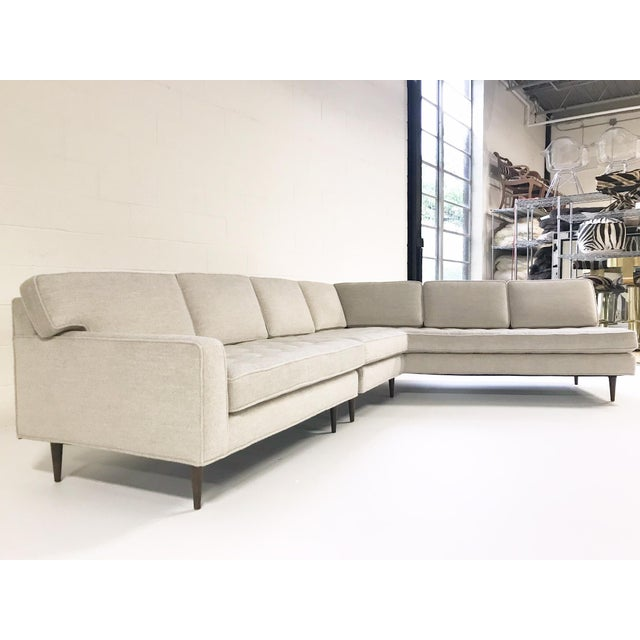 Vintage Mid-Century 2-Piece Sectional Sofa Restored in Gray Loro Piana Alpaca Wool For Sale In Saint Louis - Image 6 of 12
