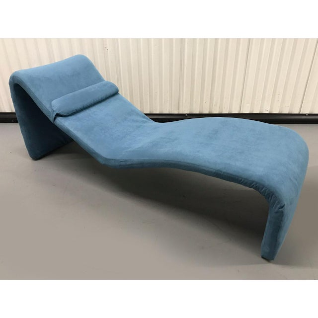 Fantastic curvilinear Djinn Chaise Model 8412 by Olivier Mourgue for Airborne International. Newly reupholstered in blue...