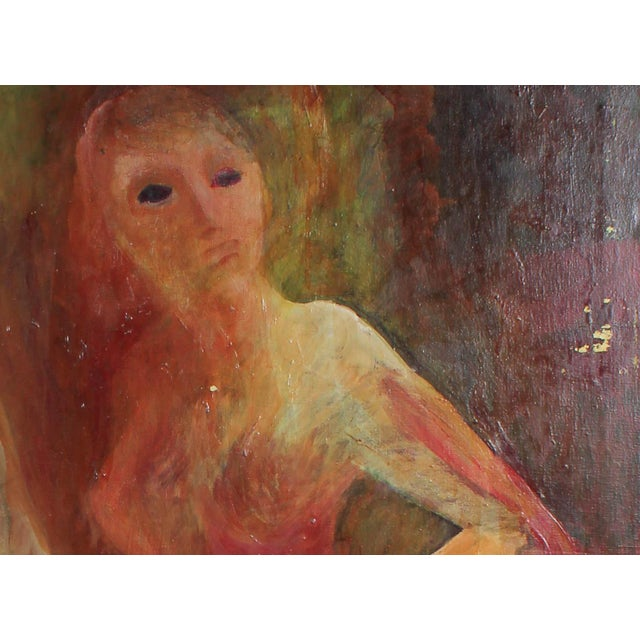 This circa 1977 oil on canvas figurative scene in warm tones painted with oil on canvas is by Bay Area artist Alysanne...
