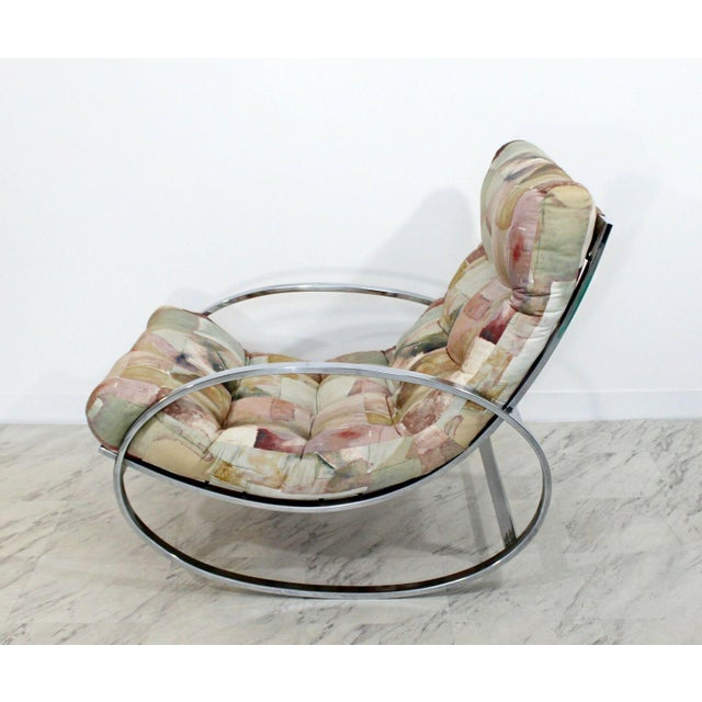 1970s Mid Century Renato Zevi Chrome Elliptical Rocking Chair For Sale - Image 5 of 10