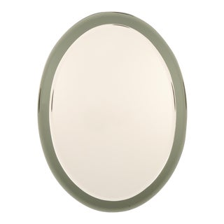 Italian Oval Shaped Beveled Wall Mirror in the Style of Fontana Arte 7709 For Sale