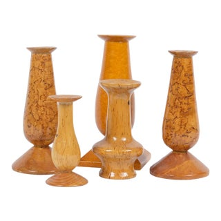 Mid-Century Burl Wood Candle Holders - Set of 5 For Sale
