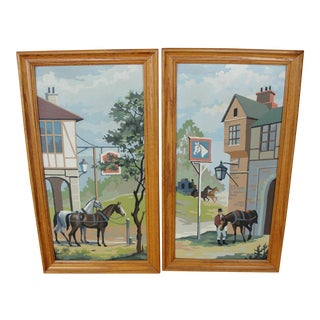 Mid-Century Colonial Horses Paintings - A Pair For Sale
