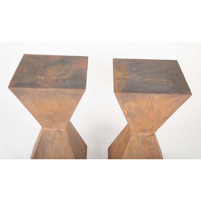 Brancusi Style Steel Side Tables - A Pair For Sale - Image 11 of 13