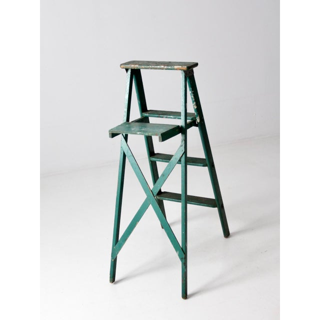 Vintage Green Wooden Ladder For Sale - Image 4 of 10