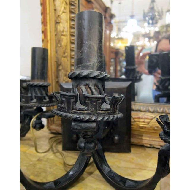 Arts & Crafts Hammered Bronze Sconces - a Pair For Sale - Image 4 of 9