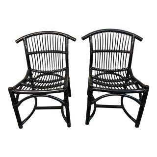 Mid-20th Century Rattan Black Side Chairs- a Pair For Sale