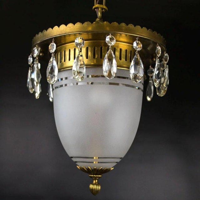 Art Deco 1930's Brass Pendant with Frosted Glass Dome and Crystal Accents For Sale - Image 3 of 7