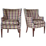 Image of Hepplewhite Curved Wingback Chairs, Pair For Sale