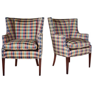 Hepplewhite Curved Wingback Chairs, Pair For Sale