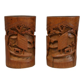 20th Century Chinese Bamboo Brush Pots - a Pair