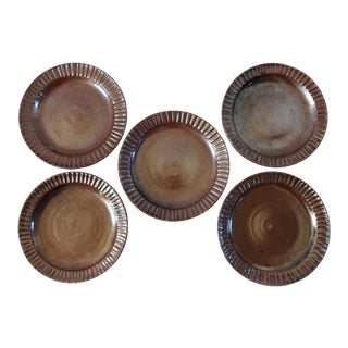 Vintage Art Pottery Dark Brown Fluted Plates - Set of 5 For Sale