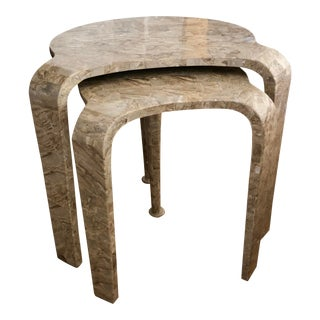 Tessellated Fossil Stone Nesting Tables - Set of 2 For Sale