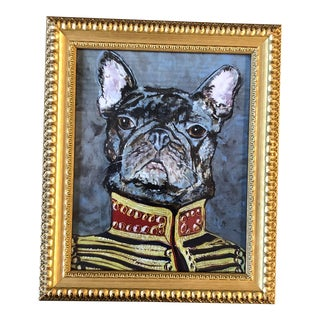 "Contemporary French Bull Dog Print by Judy Henn "" Military Frenchie"" For Sale"