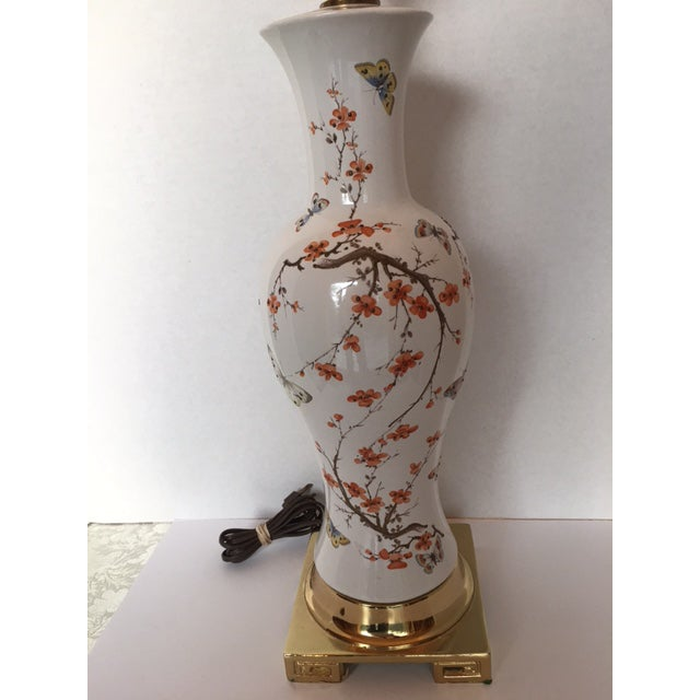 Asian Butterflies & Cherry Blossom Ceramic Table Lamp For Sale - Image 3 of 8