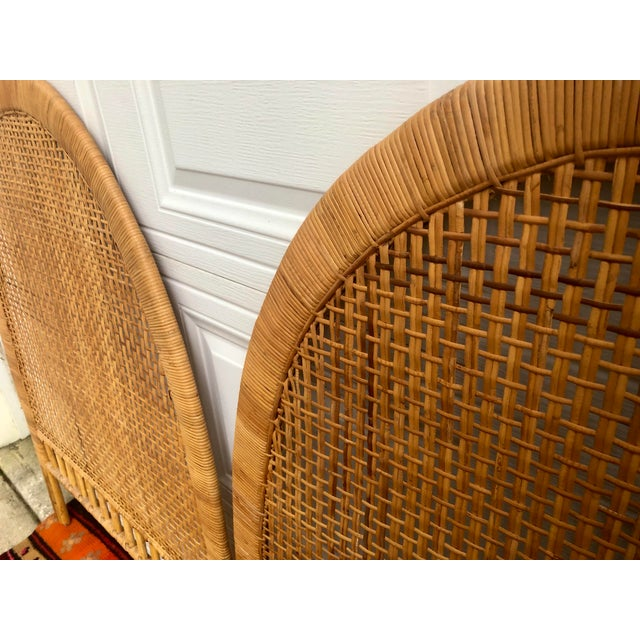 Wood Vintage Mid-Century Arched Cane Bamboo Rattan Buri Twin Headboards - a Pair For Sale - Image 7 of 10