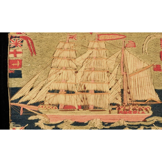 Victorian Antique British Sailor's Woolwork of the Angola For Sale - Image 3 of 6