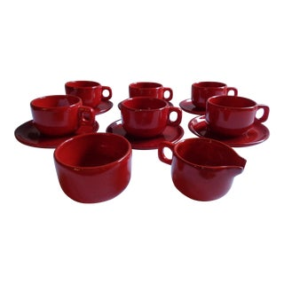 Mid-Century Modern Gerz West German Red Coffee 14-Piece Set