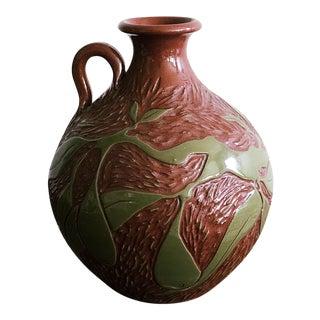 Vintage Ceramic With Carved Leaves Bud Vase or Olive Oil Jug For Sale