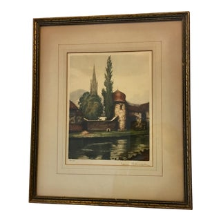 Vintage French Castle by Stream Lithograph For Sale