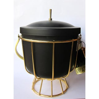 Vintage 1950s Ernest Sohn Creations Matte Black and Gold Ice Bucket Preview