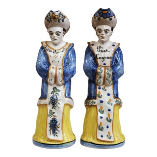 19th Century French Hand-Painted Ceramic Bar Figurines or Pitchers - a Pair