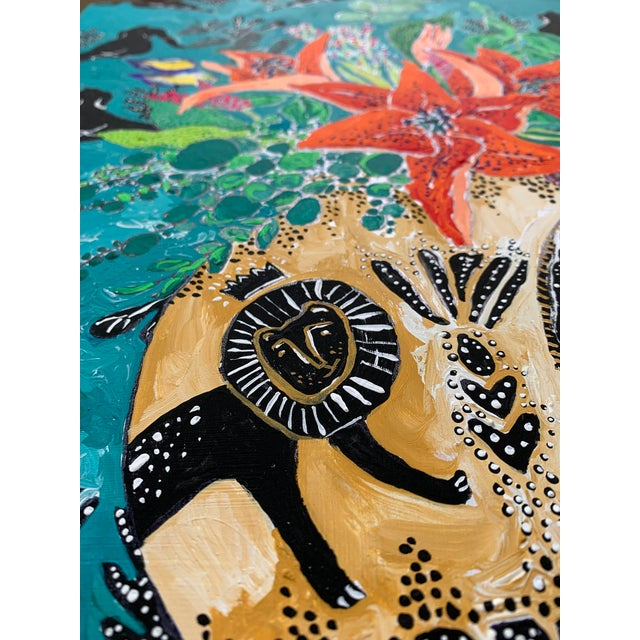 Modern Amphitrite: Orange Lily and Wildflower Bouquet in Lion and Giraffe Urn on Emerald Matisse Inspired Wallpaper For Sale - Image 3 of 4