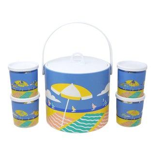 1980's Beach Scene Ice Bucket Set - Set of 10 For Sale