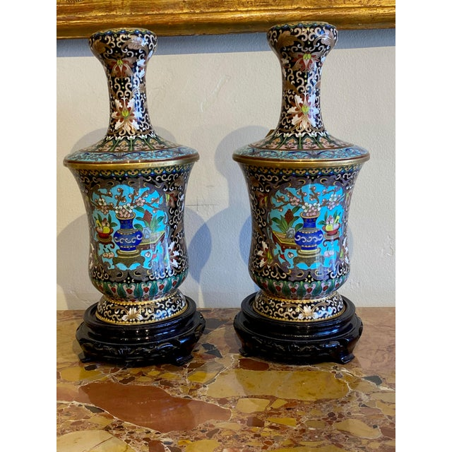 19th Century Chinese Cloisonné Vases-a Pair For Sale - Image 10 of 10