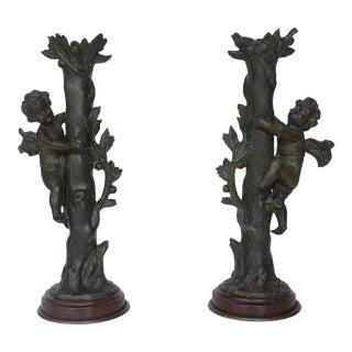 Antique Bronze Cherub Candle Holders - A Pair