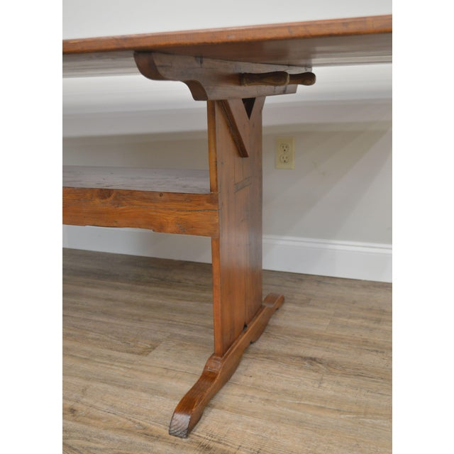 Farmhouse Pine Trestle Base Tilt Top Dining Table For Sale - Image 11 of 13