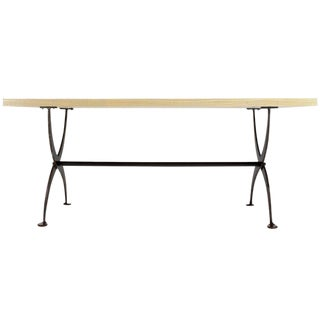 Solid White Wash Finish Oak Top Scissor Wrought Iron Base Harvest Dining Table For Sale